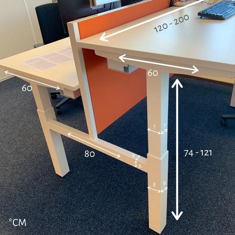 honmove duo afmetingen dubbel zit-sta bureau   | wissel staan en zitten achter je bureau af | Worktrainer.nl