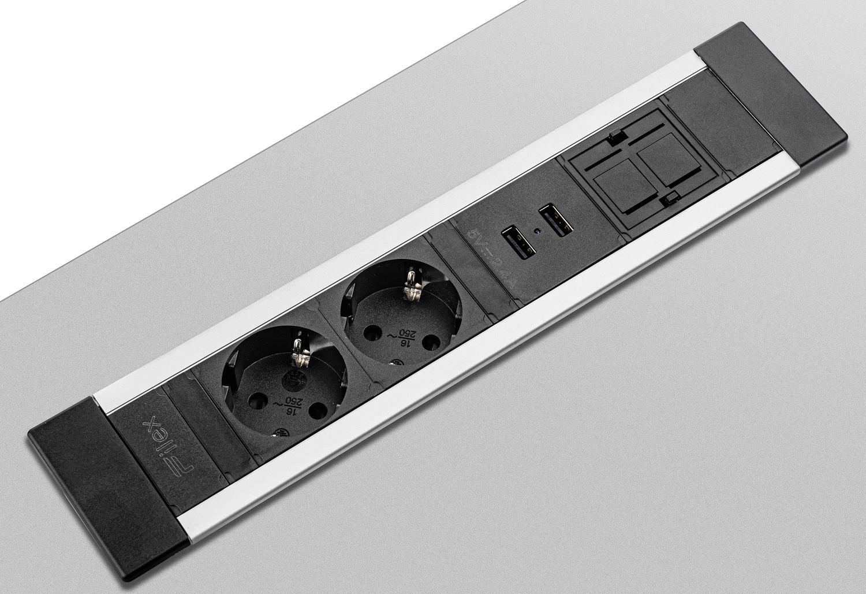 Inbouwunit Power Desk Insert | Breng energie in je werkplek | Bezoek Worktrainer.nl