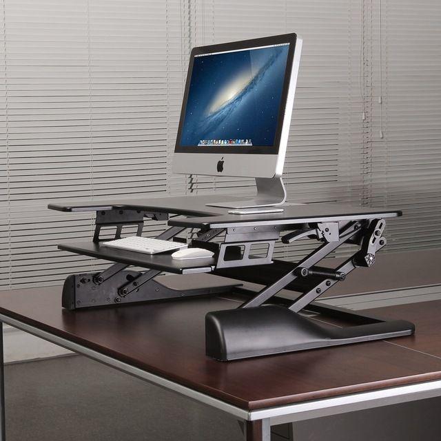 Sitz-Steh-Erhöhung - UPdesk XL - Gasfeder| Effizient, gesund und ergonomisch arbeiten | aktive Körperhaltung| Worktrainer.de | Sitz-Steh-Arbeitsplätze| Platz für zwei Monitore| Laptop mit Monitor |in 3 Sekunden von Sitz- in Stehhöhe gebracht|Bildschirm auf Augenhöhe