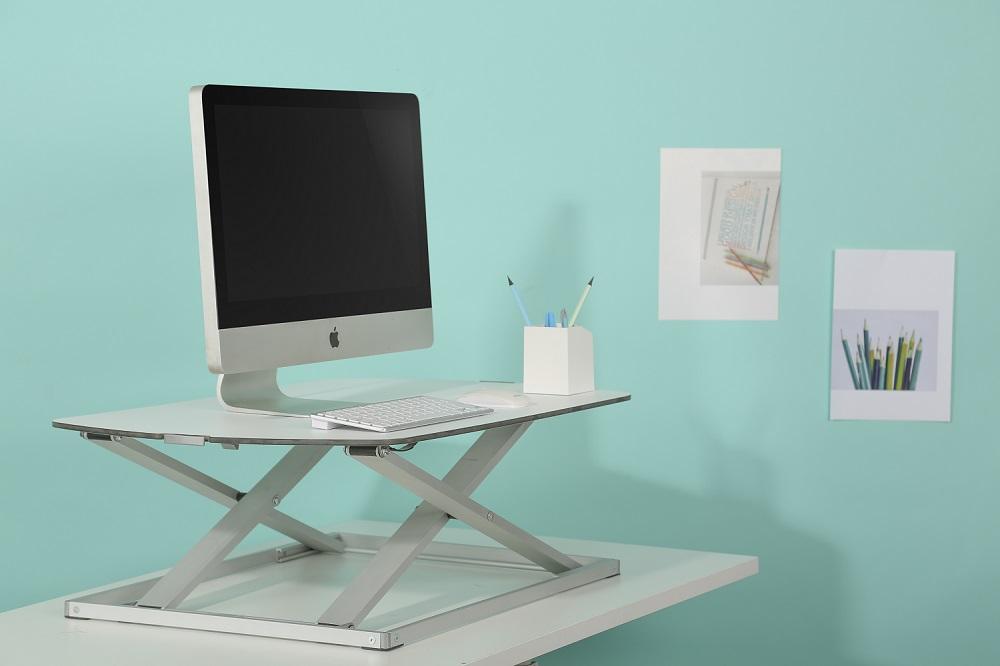 Desk Riser Ultra slim standing desk | choose a healthy workplace visit Worktrainer.com