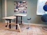 Dubbel zit-sta bureau oak