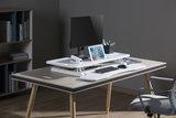 Updesk Cross Gasveer bureauverhoger staan achter je bureau | ergonomisch kantoormeubilair | Worktrainer.nl