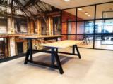 Dubbel Elektrisch Zit-Sta Bureau - OakDesk - Natuurlijk bureau met eiken voeten - Worktrainer.nl