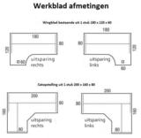 Tekening werkbladen Verstelbaar zit-sta hoekbureau A251