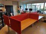 Bench met akoestische schermen   | wissel staan en zitten achter je bureau af | Worktrainer.nl