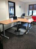 hoek zit sta bureau met beuken werkblad