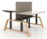 Double Oak Desk dubbel zit sta bureau  kies voor een gezonde werkplek bezoek Worktrainer.nl