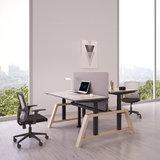 Dubbele oak desk  dubbel zit sta bureau | kies voor een gezonde werkplek bezoek Worktrainer.nl