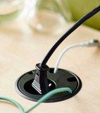 Stekkerdoos zwart met kabels Evia inbouwmodule | accessoires voor je werkplek bezoek Worktrainer.nl