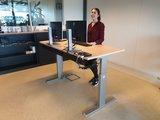 A140 zilver met wild peren werkblad | wissel staan en zitten achter je bureau af | Worktrainer.nl