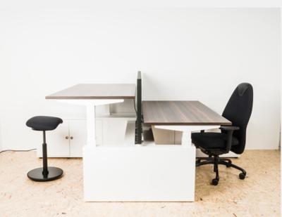 Dubbel zit-sta bureau - S2H Workbench met wangen