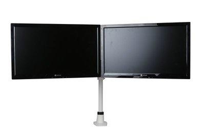 witte dubbele monitorarm | kies voor een gezonde werkplek bezoek Worktrainer.nl