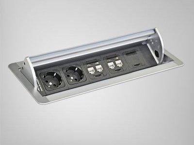 Inbouw Netbox alle accessoires bij je zit-sta bureau koop je online bij Worktrainer.nl